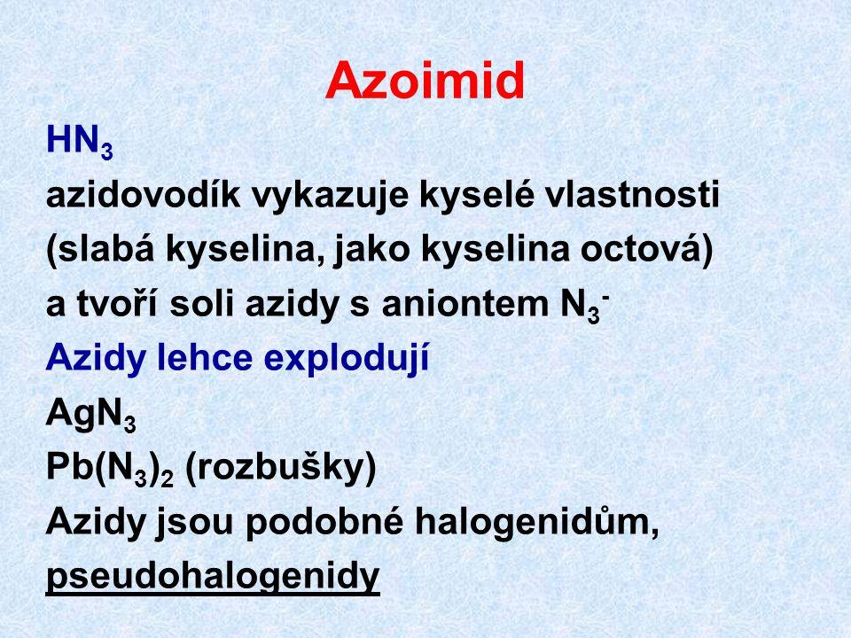 Azoimid HN 3 azidovodík vykazuje kyselé vlastnosti (slabá kyselina, jako kyselina octová) a tvoří soli azidy s aniontem N 3 - Azidy lehce explodují Ag