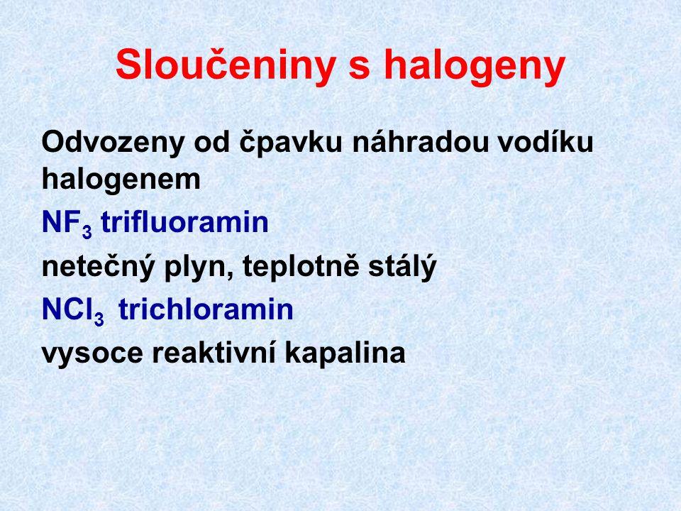 Sloučeniny s halogeny Odvozeny od čpavku náhradou vodíku halogenem NF 3 trifluoramin netečný plyn, teplotně stálý NCl 3 trichloramin vysoce reaktivní