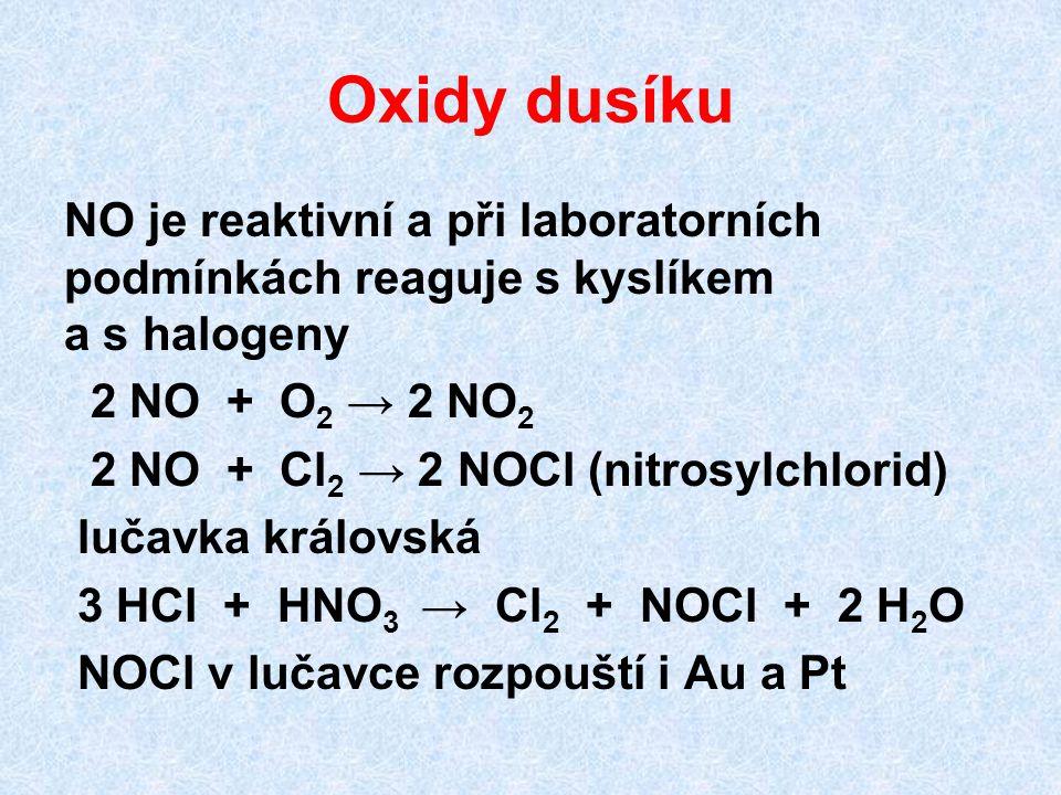Oxidy dusíku NO je reaktivní a při laboratorních podmínkách reaguje s kyslíkem a s halogeny 2 NO + O 2 → 2 NO 2 2 NO + Cl 2 → 2 NOCl (nitrosylchlorid)