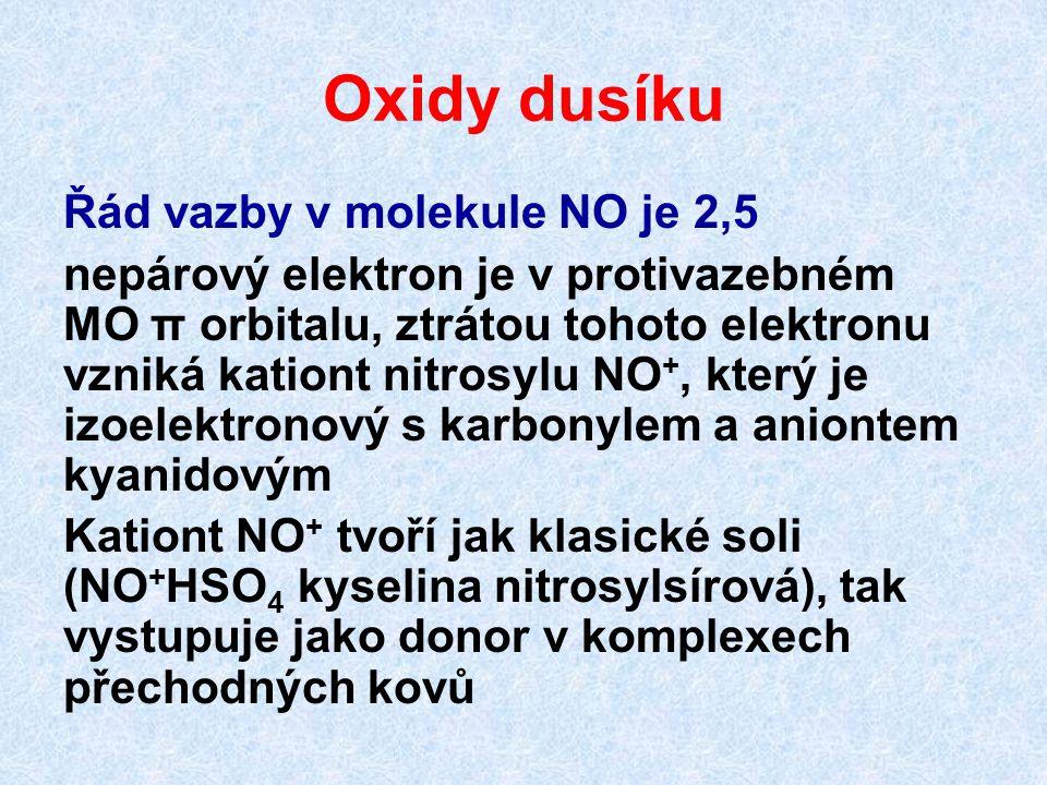 Oxidy dusíku Řád vazby v molekule NO je 2,5 nepárový elektron je v protivazebném MO π orbitalu, ztrátou tohoto elektronu vzniká kationt nitrosylu NO +