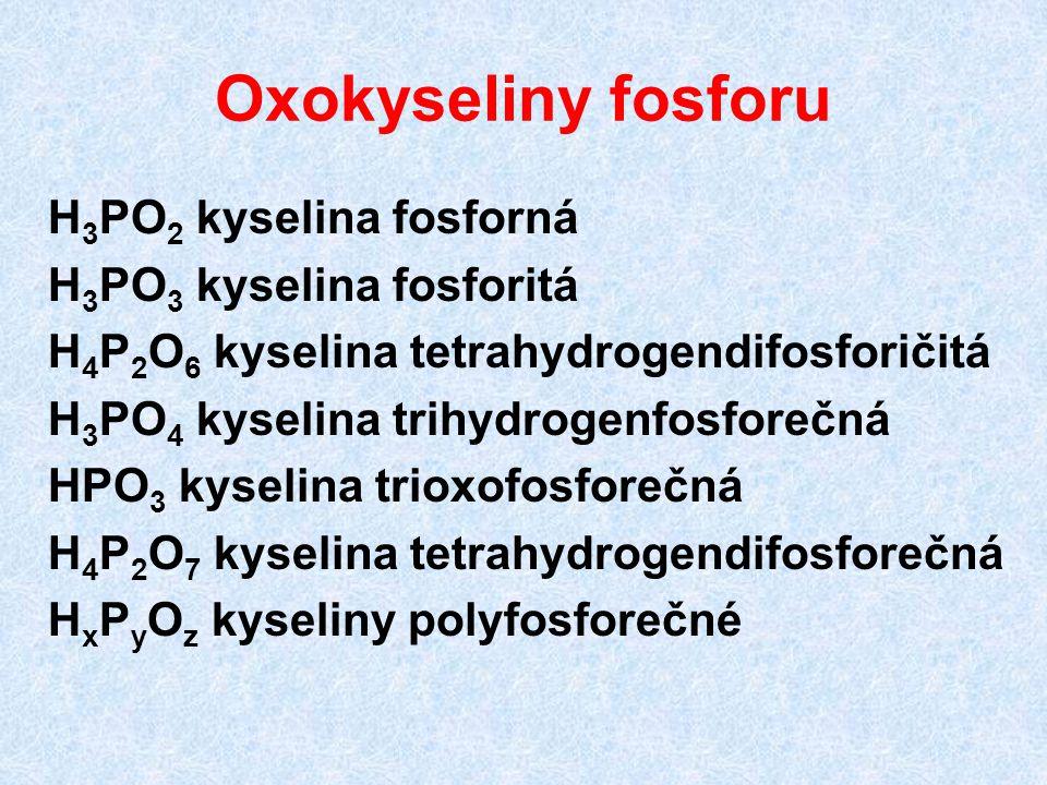Oxokyseliny fosforu H 3 PO 2 kyselina fosforná H 3 PO 3 kyselina fosforitá H 4 P 2 O 6 kyselina tetrahydrogendifosforičitá H 3 PO 4 kyselina trihydrog