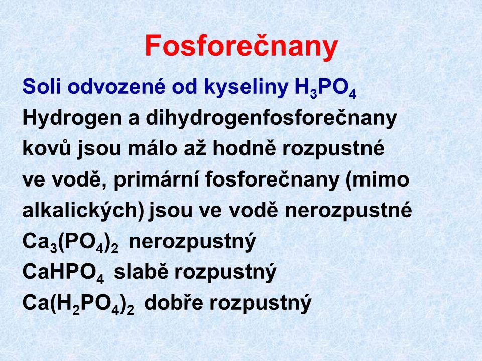 Fosforečnany Soli odvozené od kyseliny H 3 PO 4 Hydrogen a dihydrogenfosforečnany kovů jsou málo až hodně rozpustné ve vodě, primární fosforečnany (mi