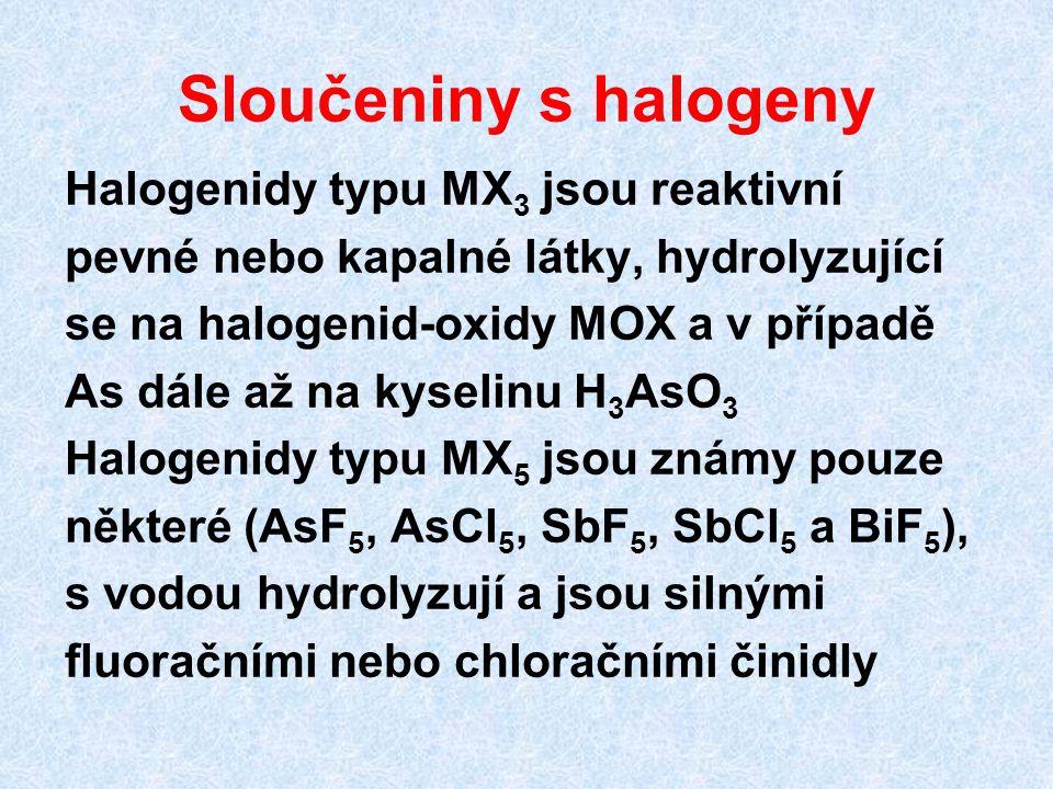 Sloučeniny s halogeny Halogenidy typu MX 3 jsou reaktivní pevné nebo kapalné látky, hydrolyzující se na halogenid-oxidy MOX a v případě As dále až na