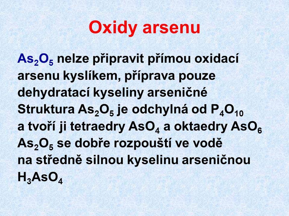 Oxidy arsenu As 2 O 5 nelze připravit přímou oxidací arsenu kyslíkem, příprava pouze dehydratací kyseliny arseničné Struktura As 2 O 5 je odchylná od