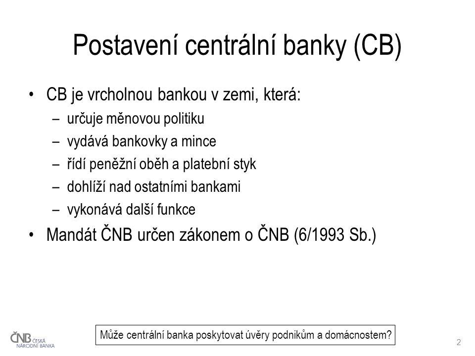 2 Postavení centrální banky (CB) CB je vrcholnou bankou v zemi, která: –určuje měnovou politiku –vydává bankovky a mince –řídí peněžní oběh a platební styk –dohlíží nad ostatními bankami –vykonává další funkce Mandát ČNB určen zákonem o ČNB (6/1993 Sb.) Může centrální banka poskytovat úvěry podnikům a domácnostem?