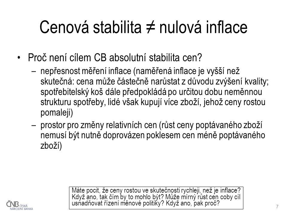 7 Cenová stabilita ≠ nulová inflace Proč není cílem CB absolutní stabilita cen.