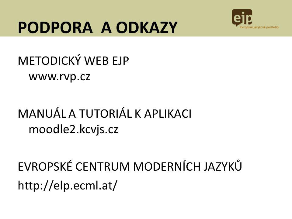 PODPORA A ODKAZY METODICKÝ WEB EJP www.rvp.cz MANUÁL A TUTORIÁL K APLIKACI moodle2.kcvjs.cz EVROPSKÉ CENTRUM MODERNÍCH JAZYKŮ http://elp.ecml.at/