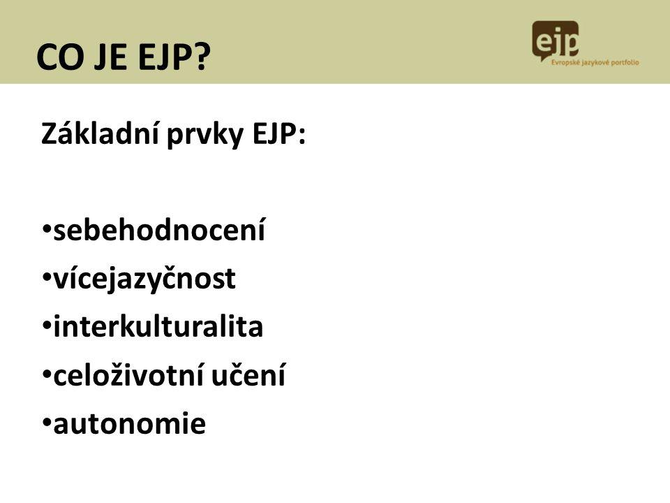 CO JE EJP? Základní prvky EJP: sebehodnocení vícejazyčnost interkulturalita celoživotní učení autonomie
