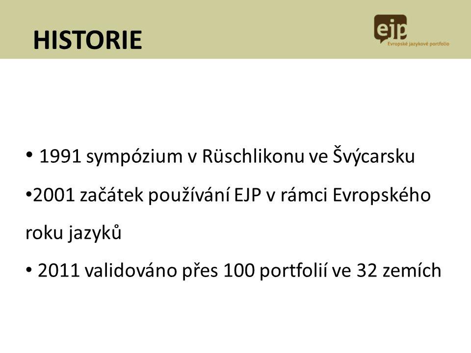 1991 sympózium v Rüschlikonu ve Švýcarsku 2001 začátek používání EJP v rámci Evropského roku jazyků 2011 validováno přes 100 portfolií ve 32 zemích HI