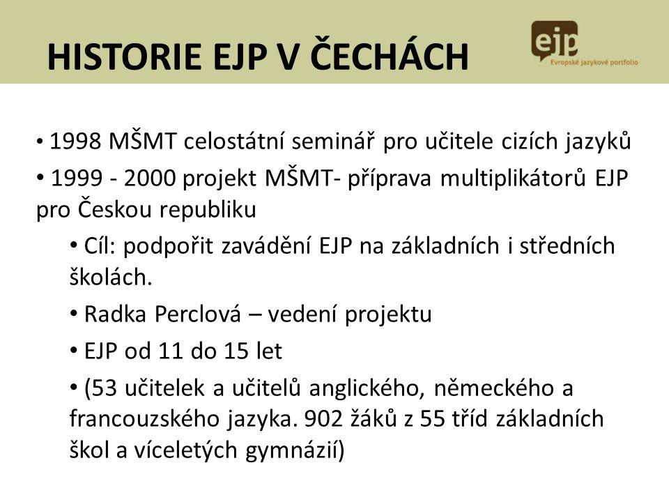 1998 MŠMT celostátní seminář pro učitele cizích jazyků 1999 - 2000 projekt MŠMT- příprava multiplikátorů EJP pro Českou republiku Cíl: podpořit zavádě