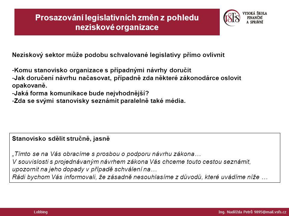 Lobbing Ing. Naděžda Petrů 9895@mail.vsfs.cz Prosazování legislativních změn z pohledu neziskové organizace Neziskový sektor může podobu schvalované l