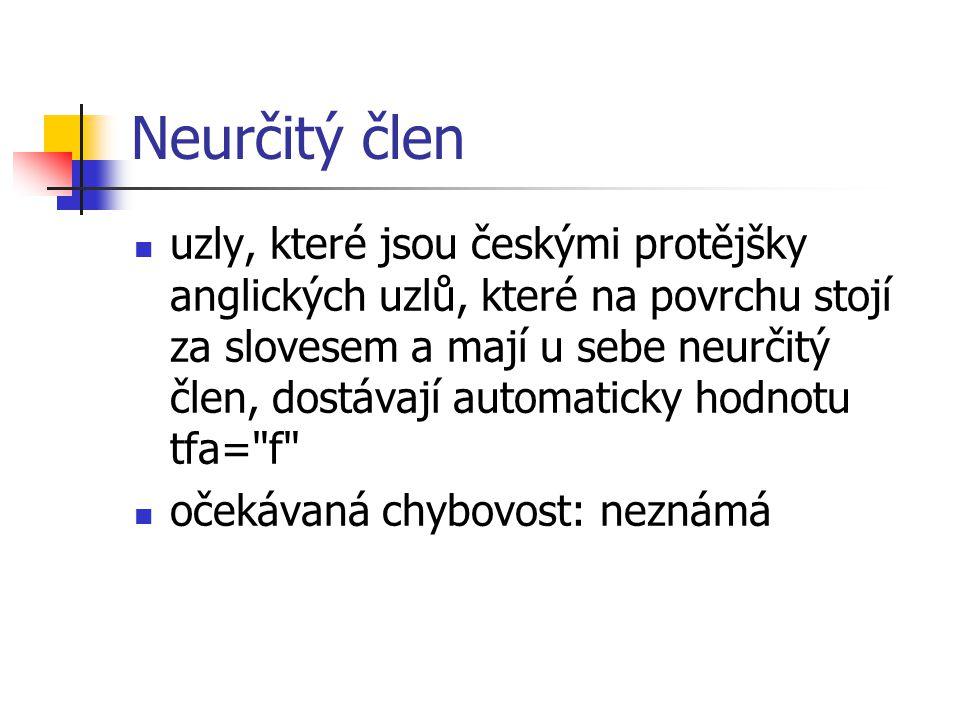 Neurčitý člen uzly, které jsou českými protějšky anglických uzlů, které na povrchu stojí za slovesem a mají u sebe neurčitý člen, dostávají automaticky hodnotu tfa= f očekávaná chybovost: neznámá