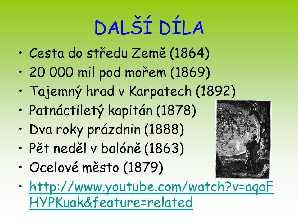 DALŠÍ DÍLA Cesta do středu Země (1864) 20 000 mil pod mořem (1869) Tajemný hrad v Karpatech (1892) Patnáctiletý kapitán (1878) Dva roky prázdnin (1888
