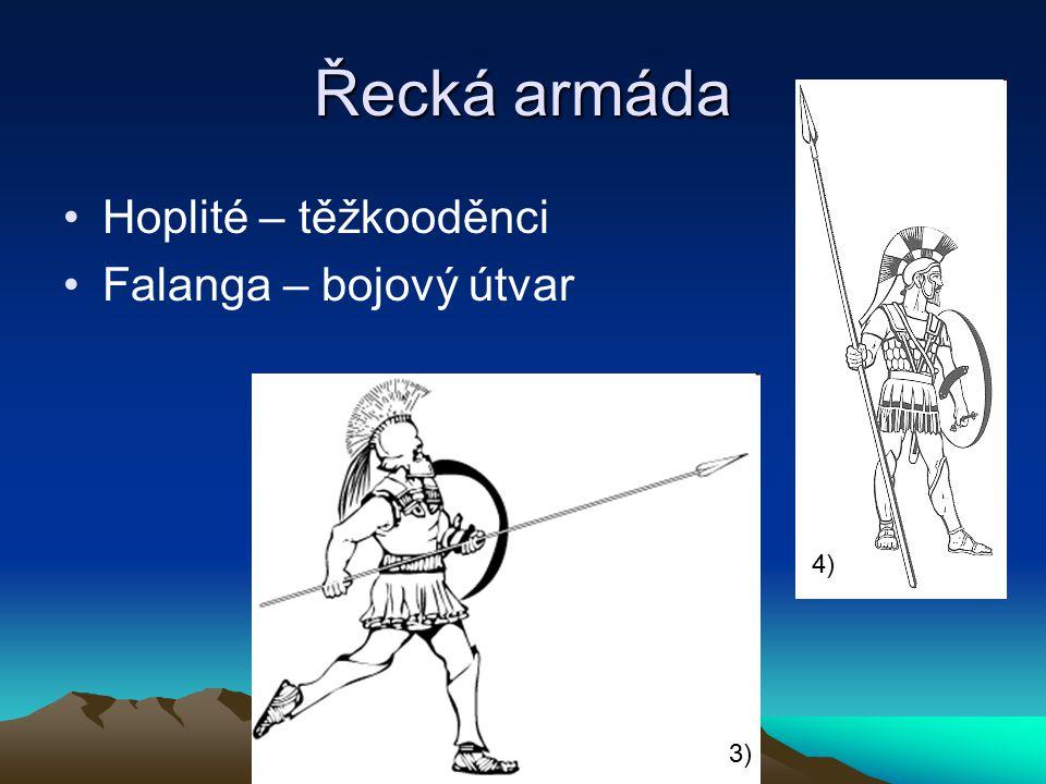 Řecká armáda Hoplité – těžkooděnci Falanga – bojový útvar 3) 4)