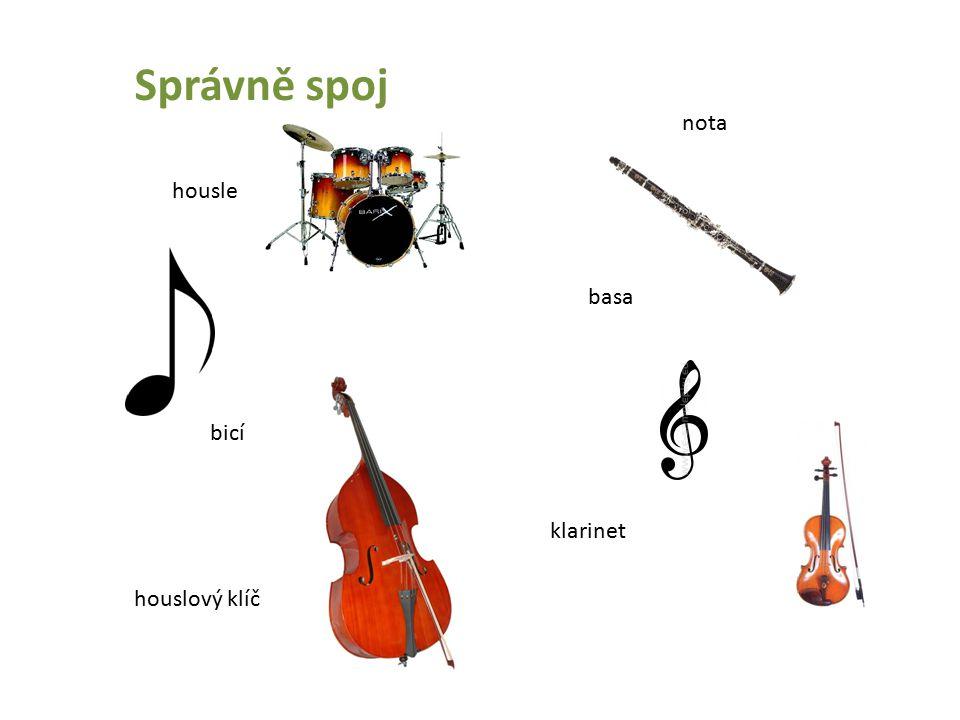 Správně spoj housle basa bicí klarinet nota houslový klíč