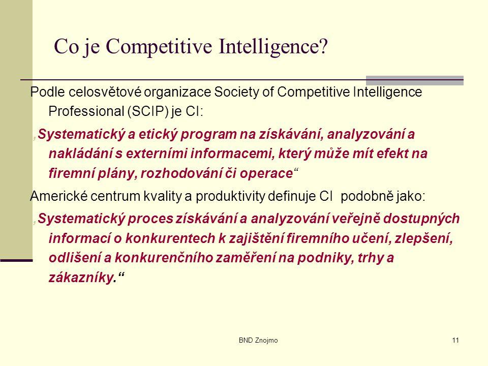 """BND Znojmo11 Co je Competitive Intelligence? Podle celosvětové organizace Society of Competitive Intelligence Professional (SCIP) je CI: """"Systematický"""