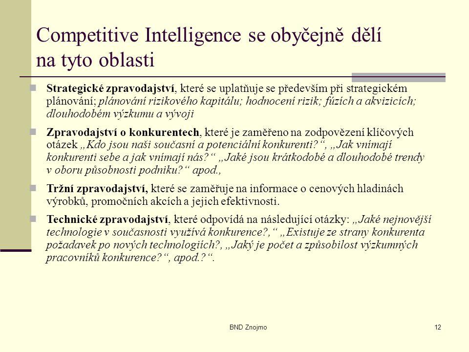 BND Znojmo12 Competitive Intelligence se obyčejně dělí na tyto oblasti Strategické zpravodajství, které se uplatňuje se především při strategickém plá