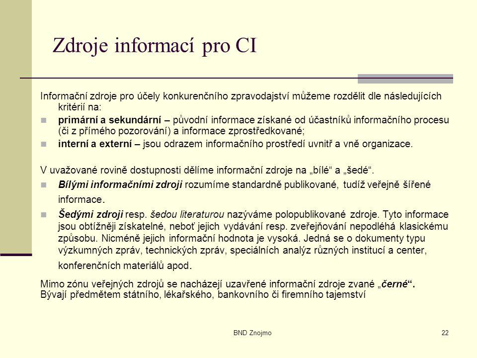 BND Znojmo22 Zdroje informací pro CI Informační zdroje pro účely konkurenčního zpravodajství můžeme rozdělit dle následujících kritérií na: primární a