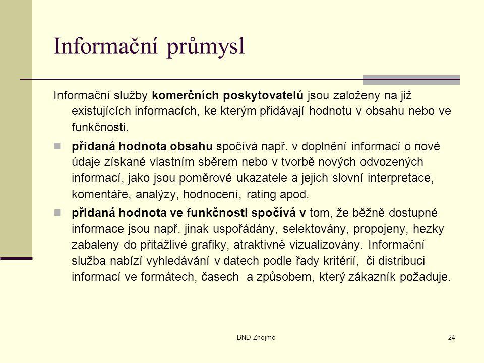 BND Znojmo24 Informační průmysl Informační služby komerčních poskytovatelů jsou založeny na již existujících informacích, ke kterým přidávají hodnotu v obsahu nebo ve funkčnosti.