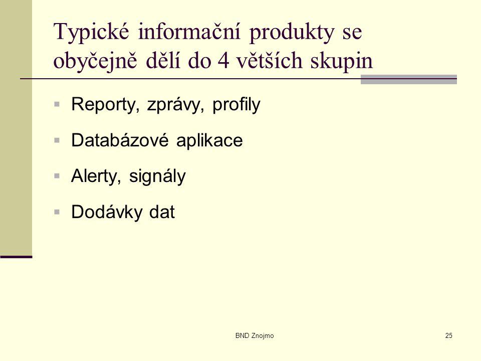 BND Znojmo25 Typické informační produkty se obyčejně dělí do 4 větších skupin  Reporty, zprávy, profily  Databázové aplikace  Alerty, signály  Dodávky dat