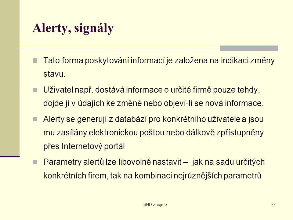 BND Znojmo28 Alerty, signály Tato forma poskytování informací je založena na indikaci změny stavu.