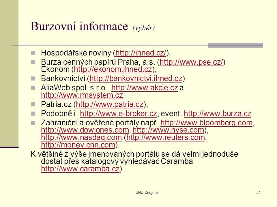 BND Znojmo31 Burzovní informace (výběr) Hospodářské noviny (http://ihned.cz/),http://ihned.cz/ Burza cenných papírů Praha, a.s. (http://www.pse.cz/) E