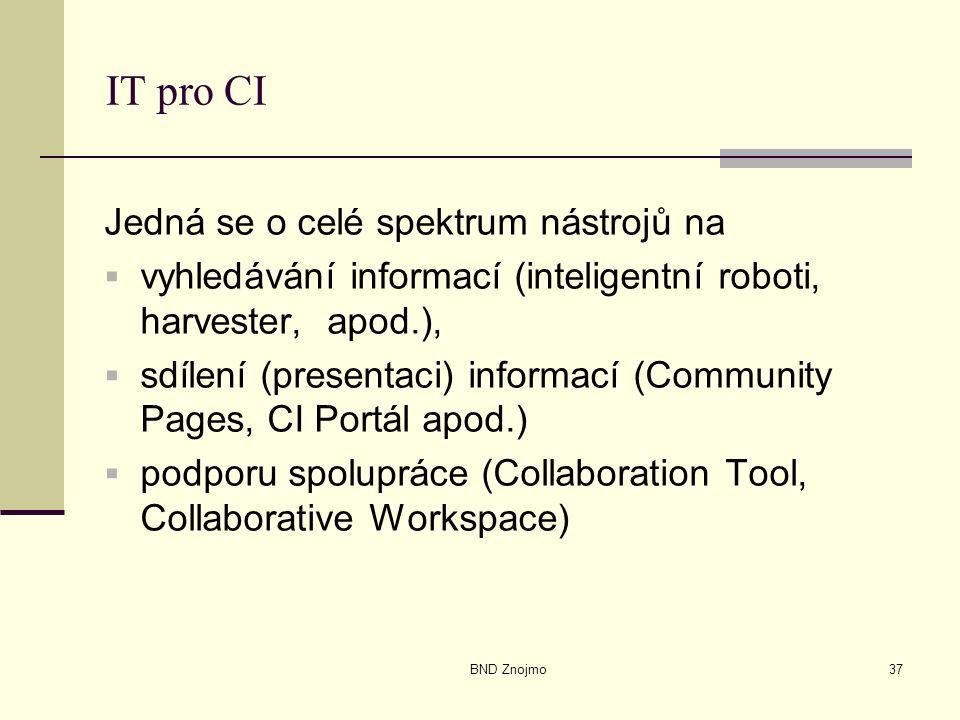 BND Znojmo37 IT pro CI Jedná se o celé spektrum nástrojů na  vyhledávání informací (inteligentní roboti, harvester, apod.),  sdílení (presentaci) informací (Community Pages, CI Portál apod.)  podporu spolupráce (Collaboration Tool, Collaborative Workspace)