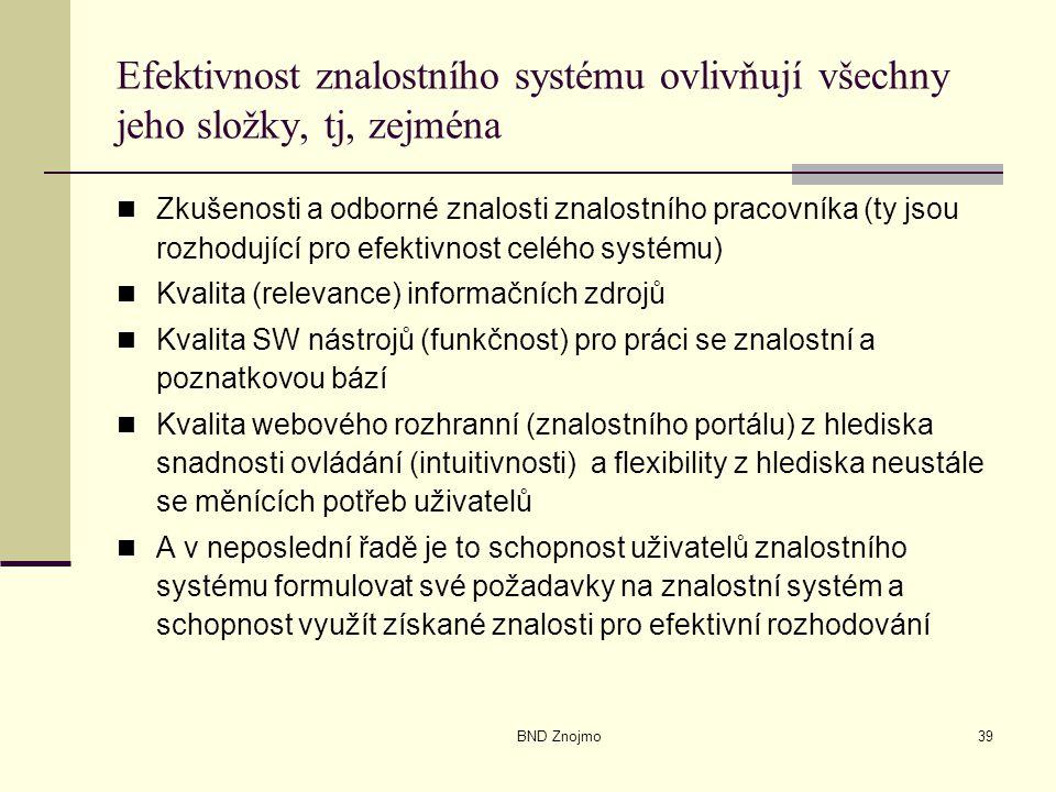BND Znojmo39 Efektivnost znalostního systému ovlivňují všechny jeho složky, tj, zejména Zkušenosti a odborné znalosti znalostního pracovníka (ty jsou