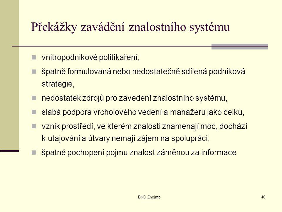BND Znojmo40 Překážky zavádění znalostního systému vnitropodnikové politikaření, špatně formulovaná nebo nedostatečně sdílená podniková strategie, ned