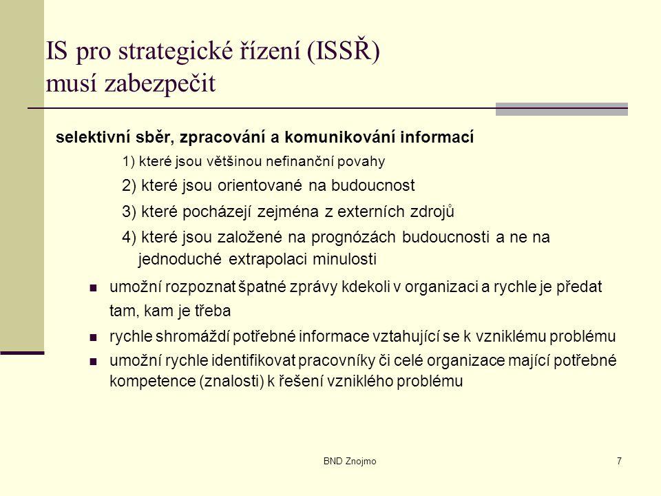 BND Znojmo7 IS pro strategické řízení (ISSŘ) musí zabezpečit selektivní sběr, zpracování a komunikování informací 1) které jsou většinou nefinanční povahy 2) které jsou orientované na budoucnost 3) které pocházejí zejména z externích zdrojů 4) které jsou založené na prognózách budoucnosti a ne na jednoduché extrapolaci minulosti umožní rozpoznat špatné zprávy kdekoli v organizaci a rychle je předat tam, kam je třeba rychle shromáždí potřebné informace vztahující se k vzniklému problému umožní rychle identifikovat pracovníky či celé organizace mající potřebné kompetence (znalosti) k řešení vzniklého problému