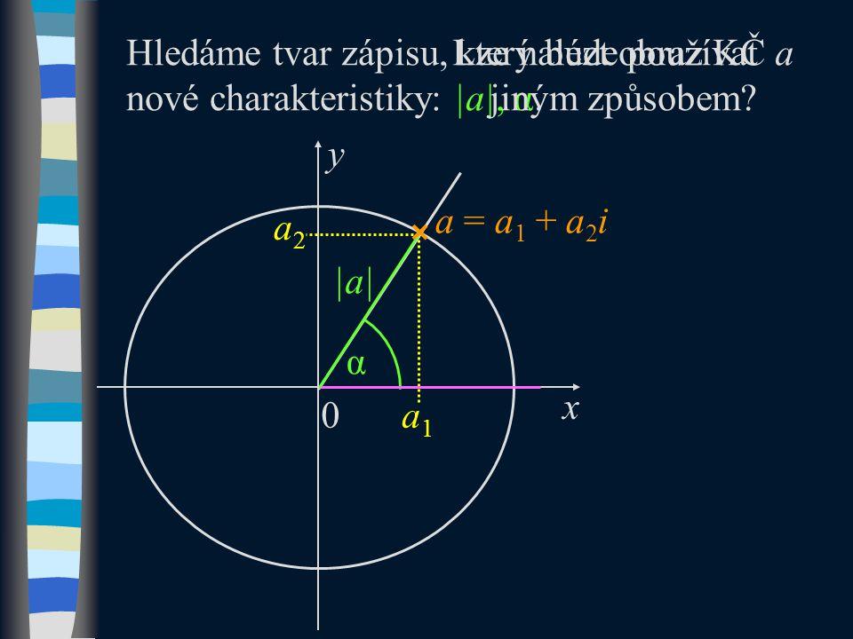 y x a1a1 a2a2 α a = a 1 + a 2 i Hledáme tvar zápisu, který bude používat nové charakteristiky: |a|, α.