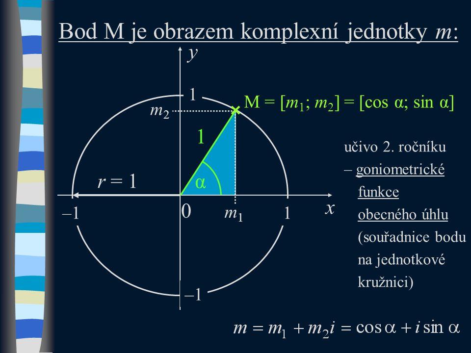 M = [m 1 ; m 2 ] y x m1m1 m2m2 α 1 0 Bod M je obrazem komplexní jednotky m: 1 1 –1 r = 1 učivo 2.