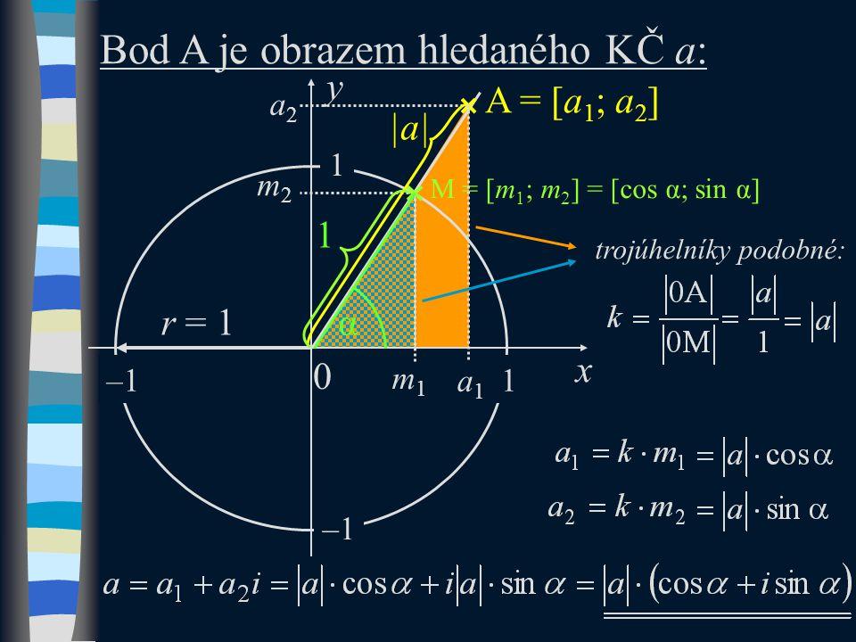 Goniometrický tvar (GT) se nazývá zápis:, kde  | a|je vzdálenost KČ od počátku, |a|  R + (vždy číslo kladné),   je argument KČ – úhel, který svírá vektor 0A s kladnou částí osy x, .