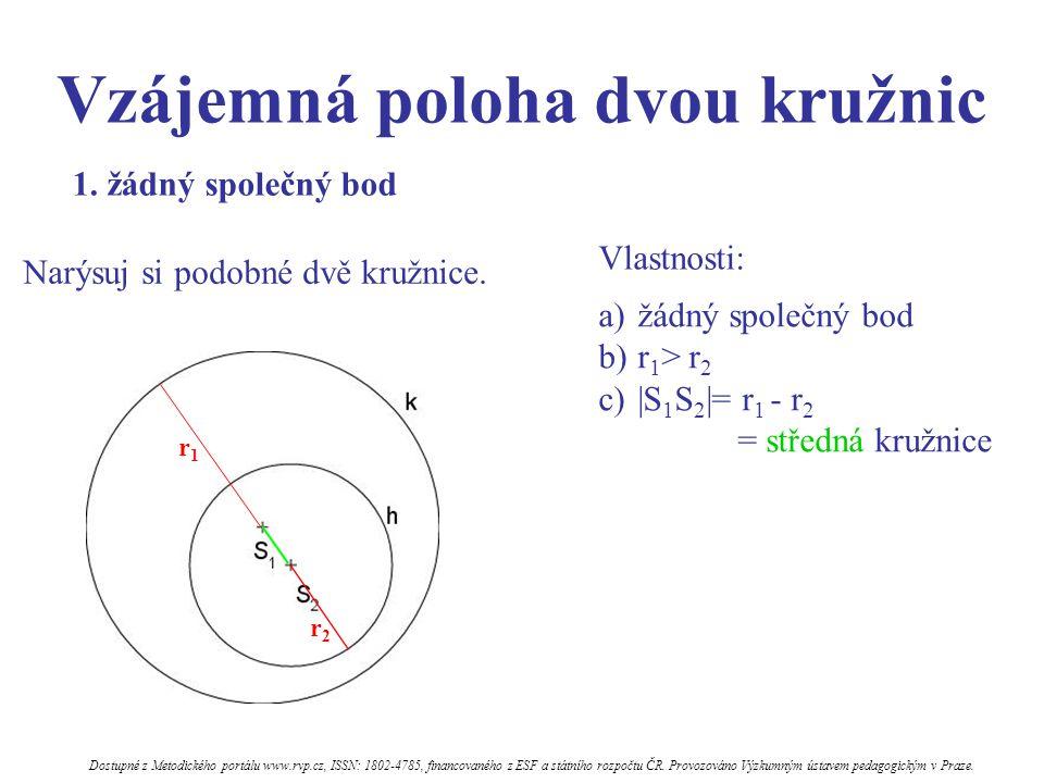 Vzájemná poloha dvou kružnic Vlastnosti: a)žádný společný bod b)r 1 > r 2 c) S 1 S 2  = r 1 - r 2 = středná kružnice 1. žádný společný bod r1r1 r2r2 N