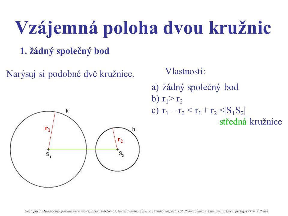Vzájemná poloha dvou kružnic Vlastnosti: a)jeden společný bod b)společná tečna c)r 1 > r 2 d)|S 1 S 2 |= r 1 - r 2 = středná kružnice d) kružnice mají vnitřní dotyk 2.