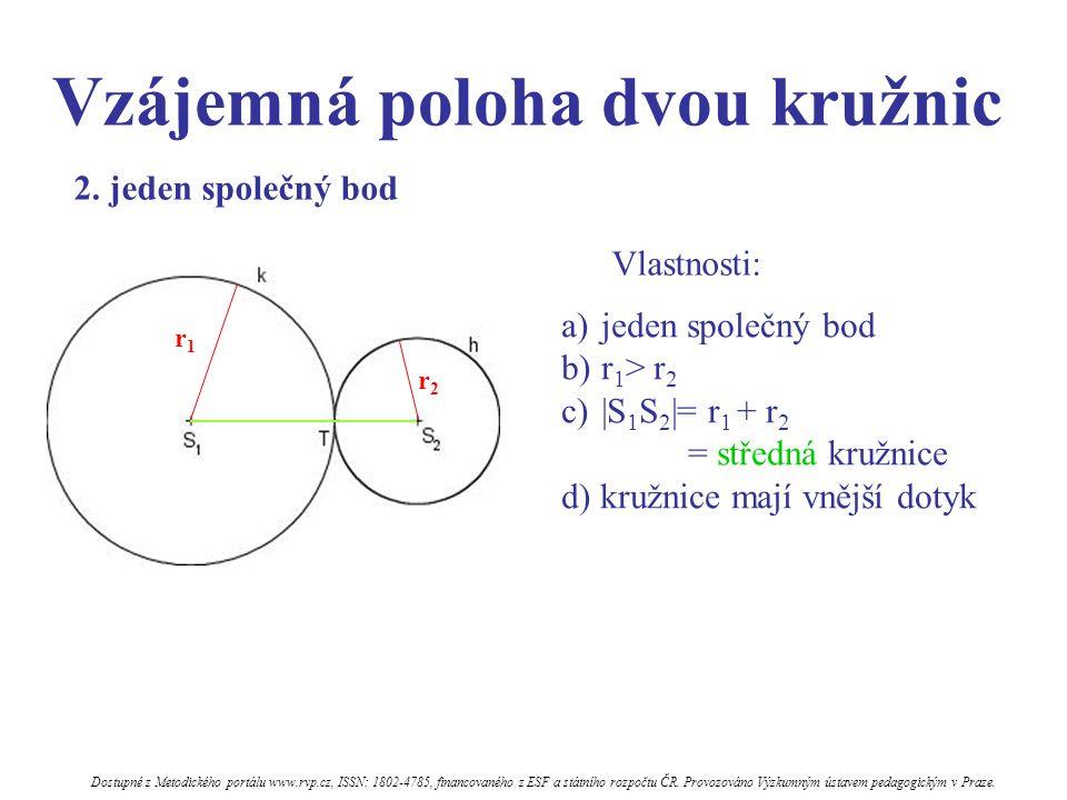 Vzájemná poloha dvou kružnic Vlastnosti: a)jeden společný bod b)r 1 > r 2 c)|S 1 S 2 |= r 1 + r 2 = středná kružnice d) kružnice mají vnější dotyk 2.
