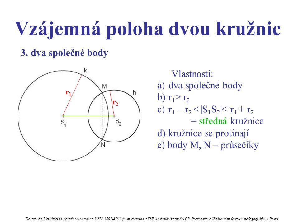 Vzájemná poloha dvou kružnic Vlastnosti: a)dva společné body b)r 1 > r 2 c)r 1 – r 2 < |S 1 S 2 |< r 1 + r 2 = středná kružnice d) kružnice se protínají e) body M, N – průsečíky 3.
