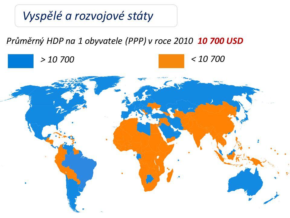 Vyspělé a rozvojové státy Průměrný HDP na 1 obyvatele (PPP) v roce 2010 10 700 USD ˃ 10 700 ˂ 10 700