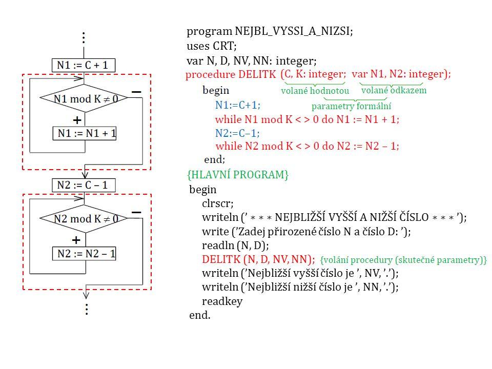 begin clrscr; writeln (' ∗ ∗ ∗ NEJBLIŽŠÍ VYŠŠÍ A NIŽŠÍ ČÍSLO ∗ ∗ ∗ '); write ('Zadej přirozené číslo N a číslo D: '); readln (N, D); DELITK (N, D, NV,