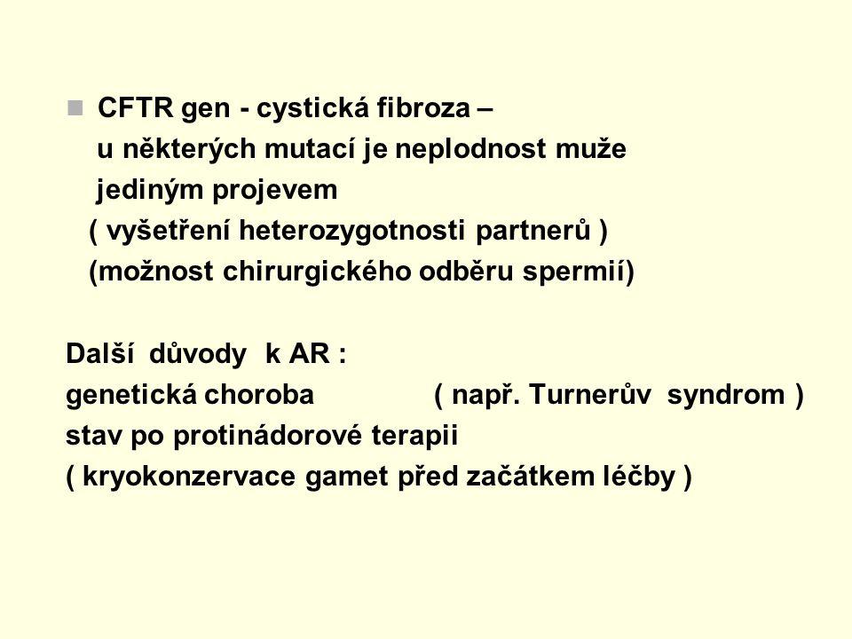 CFTR gen - cystická fibroza – u některých mutací je neplodnost muže jediným projevem ( vyšetření heterozygotnosti partnerů ) (možnost chirurgického od