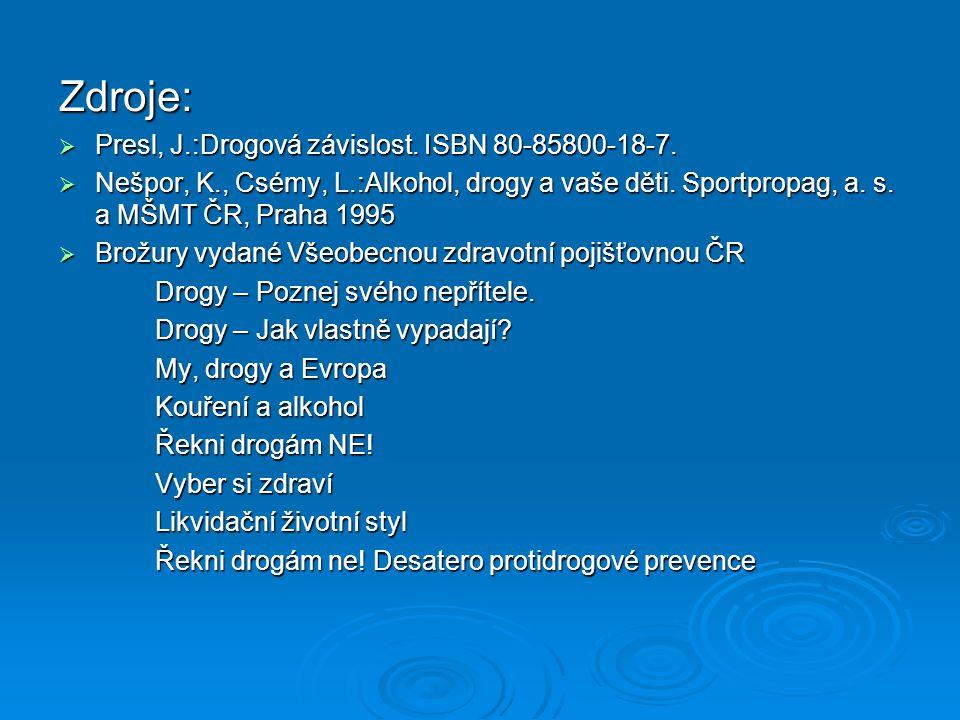 Zdroje:  Presl, J.:Drogová závislost. ISBN 80-85800-18-7.
