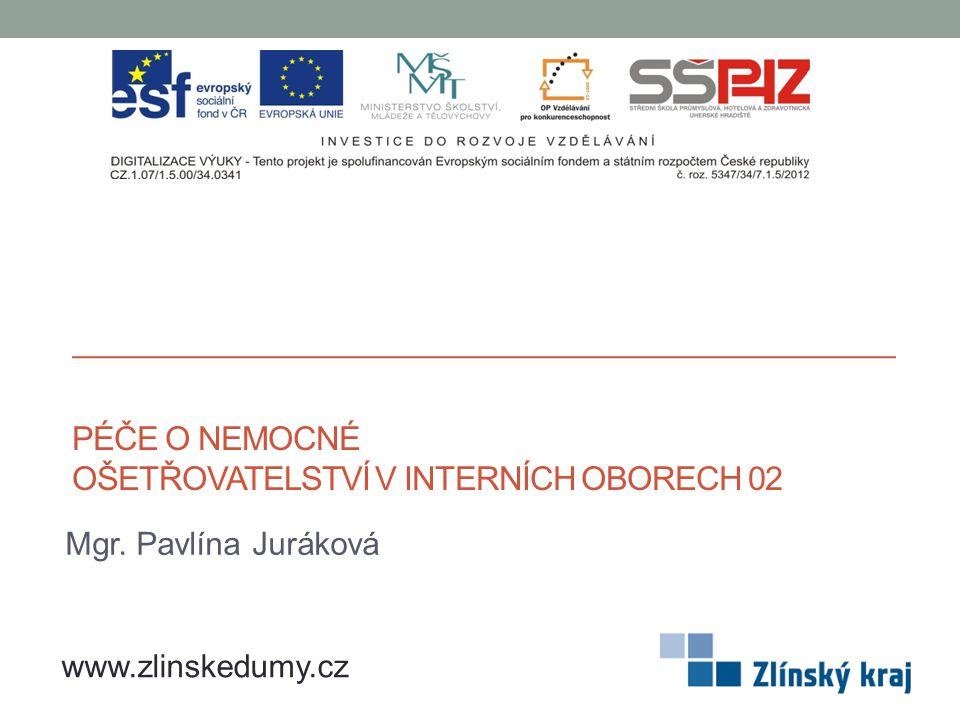 PÉČE O NEMOCNÉ OŠETŘOVATELSTVÍ V INTERNÍCH OBORECH 02 Mgr. Pavlína Juráková www.zlinskedumy.cz
