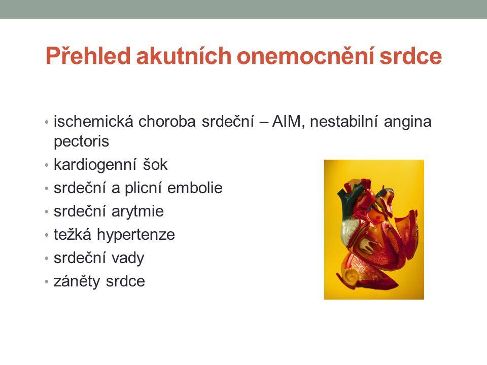 Přehled akutních onemocnění srdce ischemická choroba srdeční – AIM, nestabilní angina pectoris kardiogenní šok srdeční a plicní embolie srdeční arytmie težká hypertenze srdeční vady záněty srdce