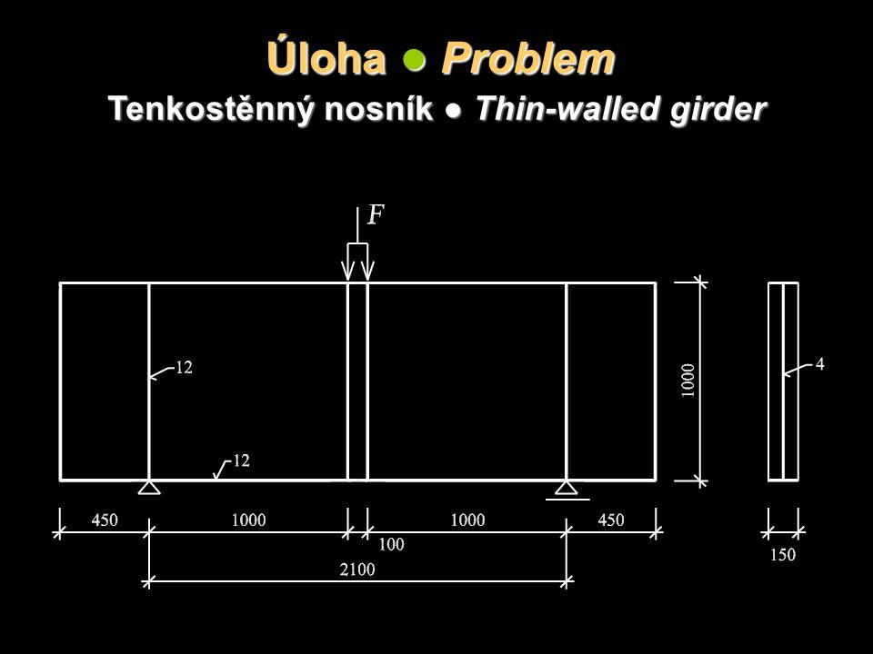 Úloha ● Problem Tenkostěnný nosník ● Thin-walled girder
