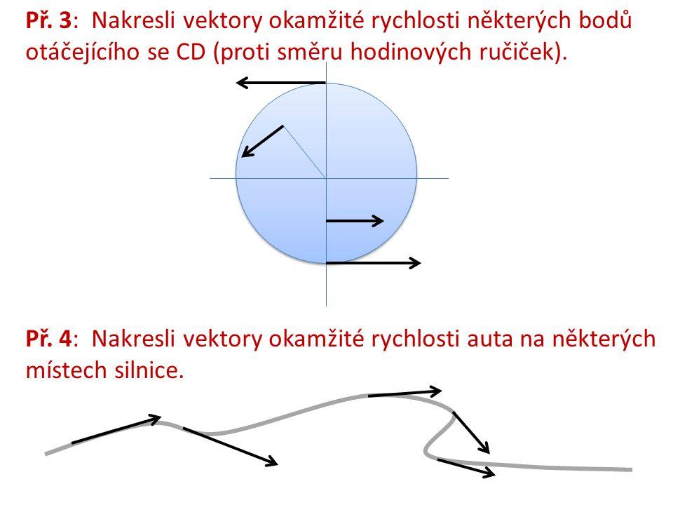 Př. 3: Nakresli vektory okamžité rychlosti některých bodů otáčejícího se CD (proti směru hodinových ručiček). Př. 4: Nakresli vektory okamžité rychlos
