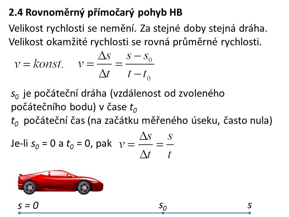 2.4 Rovnoměrný přímočarý pohyb HB Velikost rychlosti se nemění. Za stejné doby stejná dráha. Velikost okamžité rychlosti se rovná průměrné rychlosti.
