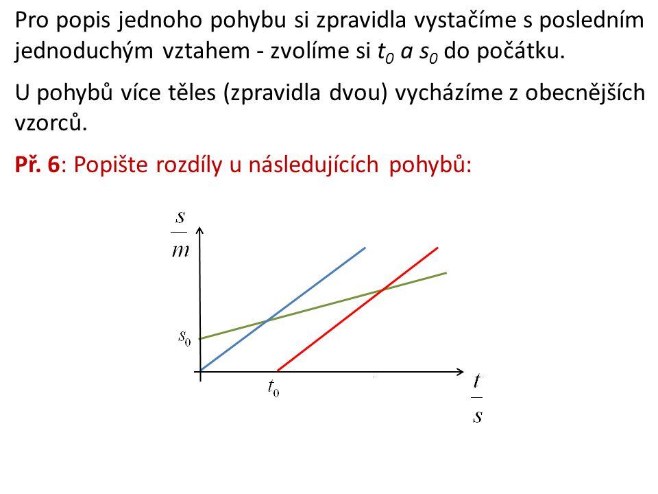 Pro popis jednoho pohybu si zpravidla vystačíme s posledním jednoduchým vztahem - zvolíme si t 0 a s 0 do počátku. U pohybů více těles (zpravidla dvou