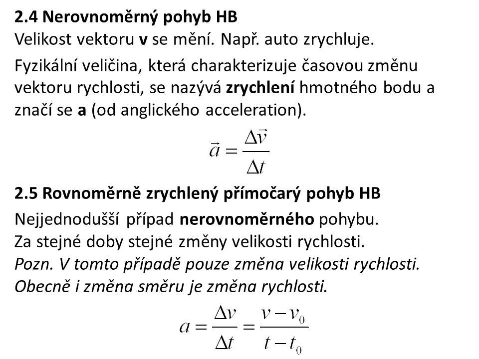 2.4 Nerovnoměrný pohyb HB Velikost vektoru v se mění. Např. auto zrychluje. Fyzikální veličina, která charakterizuje časovou změnu vektoru rychlosti,