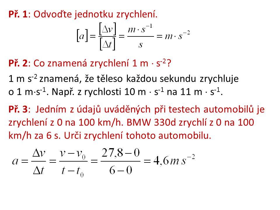 Př. 1: Odvoďte jednotku zrychlení. Př. 2: Co znamená zrychlení 1 m  s -2 ? 1 m s -2 znamená, že těleso každou sekundu zrychluje o 1 m  s -1. Např. z