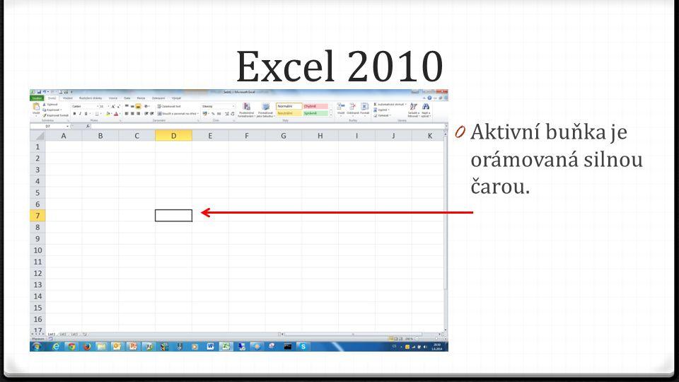 Excel 2010 0 Aktivní buňka je orámovaná silnou čarou.